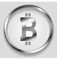 Crypto currency metal icon bitcoin design vector image