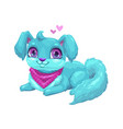 cute blue puppy with long hair vector image vector image