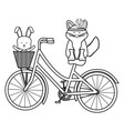 cute fox and rabbit with feathers hat in bicycle vector image vector image