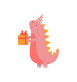 dinosaur in party hat with gift box cute colorful vector image vector image