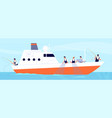 fishery season fishermen on boat commercial vector image vector image