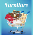furniture sofa bookcase desk chair wardrobe and be vector image
