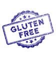 grunge textured gluten free text stamp seal vector image