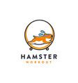 hamster workout cartoon mascot logo vector image vector image