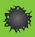 Hole cracked in the green wall vector image vector image