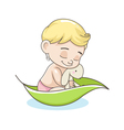 kid with a toy in a boat vector image vector image
