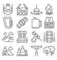 line camping and outdoor recreation icons set vector image vector image