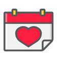 lovely calendar filled outline icon valentine vector image vector image