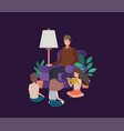 man with kids in the livingroom reading books vector image vector image