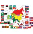 map of asia with flags vector image vector image
