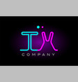neon lights alphabet tx t x letter logo icon vector image vector image