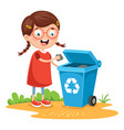 of kid recycling trash vector image