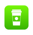 paper cup of coffee icon digital green vector image vector image