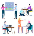 people working in office workers at job busy vector image vector image