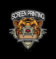 screen printing logo design head tiger vector image