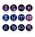 set astrology zodiac signs on outer space vector image