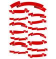 set of fifteen red cartoon ribbons vector image vector image