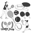 set tennis sport labels in vintage style vector image