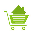 shopping cart with house glyph color icon vector image vector image