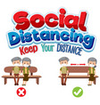 social distancing banner with cartoon character vector image vector image