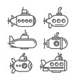 Submarine icons set on white background
