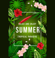summer tropical palm leaf and exotic flower banner vector image