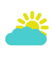 sun icon with cloud vector image vector image