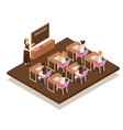 sunday school isometric composition vector image vector image