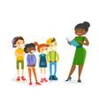 teacher reading a book to multiethnic children vector image vector image