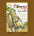 tropics travel tourist backpack banner vector image vector image