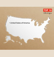 usa map on craft paper texture template vector image