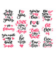 valentine s day lettering set vector image