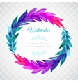 Watercolor template with wreath of colorful leaves vector image