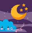 weather cartoon cloud wind moon and stars vector image
