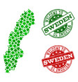 welcome composition of map of sweden and distress vector image