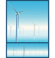 wind turbines in the sea vector image vector image