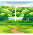 Windmill tower in the field vector image vector image