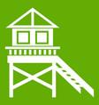 wooden stilt house icon green vector image vector image