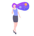 young girl character astronomer vector image vector image