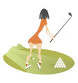 young woman golfer on the golf course vector image vector image