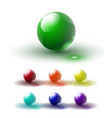 set of multicolored glass buttons with shadows vector image