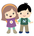 cute little girl and boy holding hands flat vector image