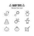 baby toys thin line icon outline symbol kid vector image vector image