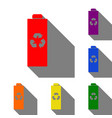 battery recycle sign set of red vector image