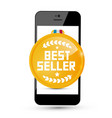best seller gold medal icon on mobile phone vector image vector image