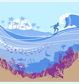 big ocean wave and tropical island on blue vector image vector image