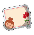 card with woman face and flowers vector image