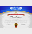 Certificate template with blue and gold