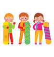 Children snowboarders isolated on white background vector image vector image
