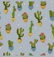 christmas cactus seamless pattern on a blue vector image